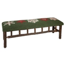 Chandler 4 Corners Twig Bench - Hooked Wool Top in Winter Flake - Closeouts