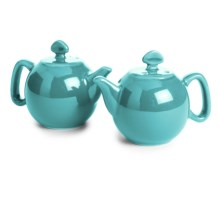 Chantal Teapot Salt and Pepper Shaker Set - Ceramic, Set of 2 in Aqua - Closeouts