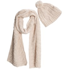 Chaos Cable Knit Scarf and Beanie Set - Wool-Acrylic (For Women) in Off White - Closeouts