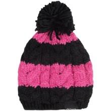 Chaos Cable-Knit Striped Hat (For Big Kids) in Black/Pink - Closeouts