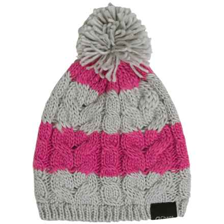 Chaos Cable-Knit Striped Hat (For Big Kids) in Grey/Pink - Closeouts