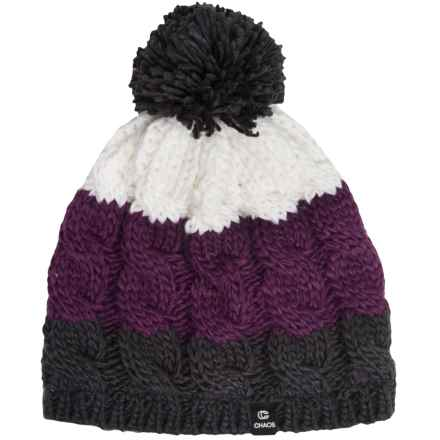 Chaos Cable-Knit Striped Hat (For Big Kids) in Grey/Purple - Closeouts