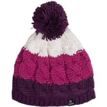 Chaos Cable-Knit Striped Hat (For Big Kids) in Purple/Fuschia - Closeouts