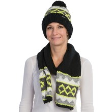 Chaos Knit Beanie Hat and Scarf Set (For Women) in Black - Closeouts