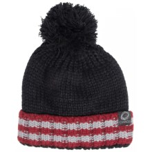 Chaos Knit Striped Pompom Hat (For Big Kids) in Black/Red/Grey - Closeouts