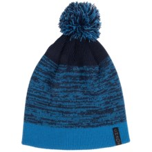Chaos Knit Striped Pompom Hat (For Big Kids) in Blue/Navy - Closeouts