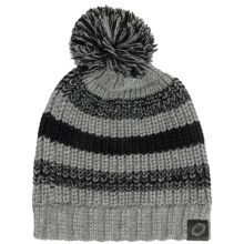 Chaos Knit Striped Pompom Hat (For Big Kids) in Grey/Black - Closeouts