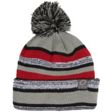 Chaos Knit Striped Pompom Hat (For Big Kids) in Grey/Red - Closeouts