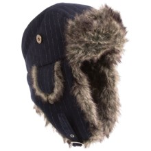Chaos Moonshadow Pinstripe Aviator Hat - Faux-Fur Lining (For Men) in Heather Navy - Closeouts