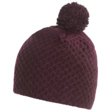 Chaos Recycled Cashmere Beanie Hat - Pompom (For Women) in Plum - Closeouts