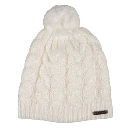 7437d68049f Clearance. Chaos Teez Metallic Cable Slouchy Beanie with Pom (For Women) in  Winter White -