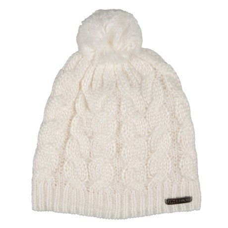 Chaos Teez Metallic Cable Slouchy Beanie with Pom (For Women) in Winter  White 1889ae596765