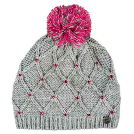 Chaos Temple Argyle Pom Beanie with Bead Detail (For Women) in Light Grey - Closeouts