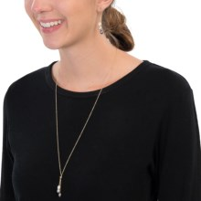 Chapal Drop Pearl Gold-Filled Necklace and Matching Earrings (For Women) in Gold W/White/Rose/Black - Closeouts