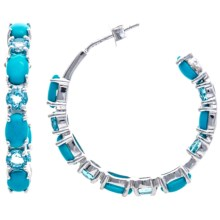 Chapal Sleeping Beauty Hoop Earrings in Blue Topaz/Turquoise/Silver - Closeouts