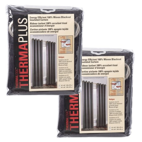 Image of Charcoal Antigua Thermaplus Blackout Curtains -104x84? Set of 2 Panels