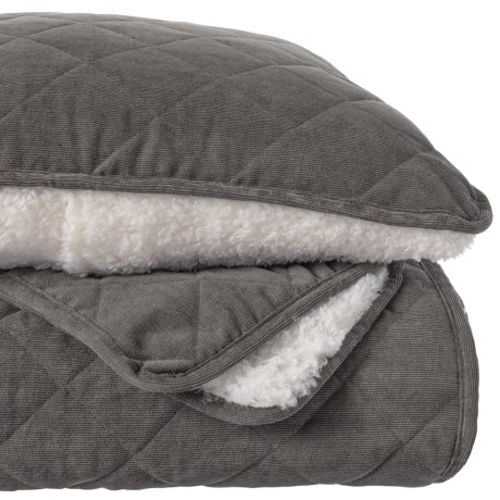 Image of Charcoal Clarence Corduroy and Sherpa Blanket Quilt Set - King