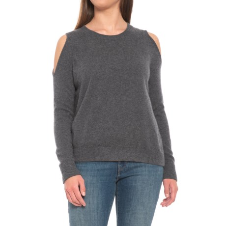 Image of Charcoal Heather Grey Cold-Shoulder Cashmere Sweater (For Women)