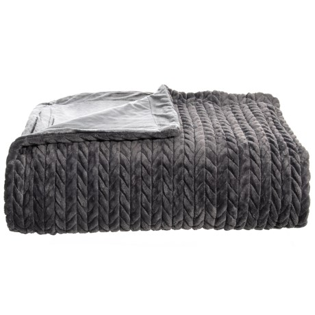 Image of Charcoal Luxury Quilted Braided Blanket - Full-Queen