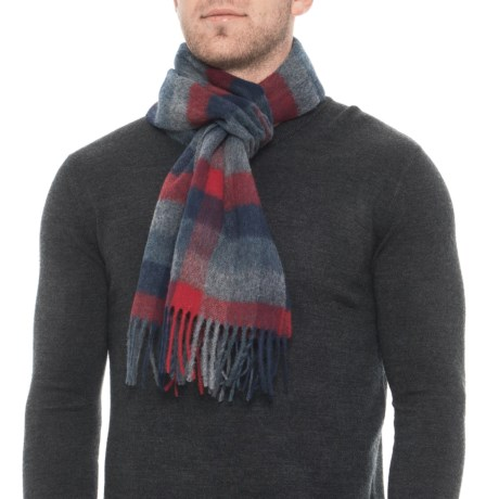 Image of Charcoal, Red and Blue Plaid Scarf - Merino Wool (For Men)