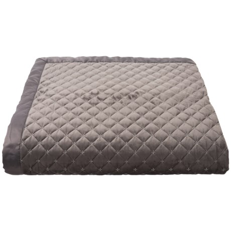 Image of Charcoal-Silver Glimmer Mitered Border Quilt - Full-Queen