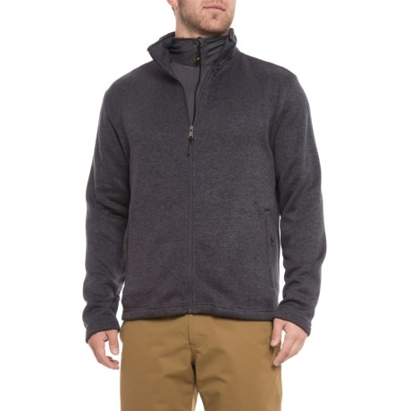 Image of Charcoal Sweater-Knit Fleece Jacket - Zip Front (For Men)