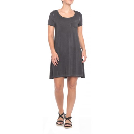Image of Charcoal Swing Dress - Short Sleeve (For Women)