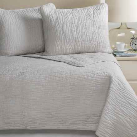 Charles Street Ripple-Stitch Quilt Set - Full-Queen in Lunar Rock - Closeouts