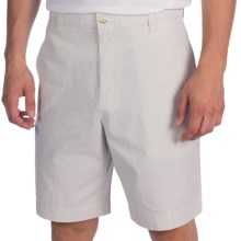 Charleston Khaki by Berle Cotton Shorts - Flat Front (For Men) in Narrow Tan/White Seersucker - Closeouts