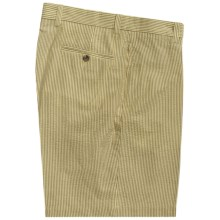 Charleston Khaki by Berle Cotton Shorts - Flat Front (For Men) in Rust/Tan Seersucker - Closeouts