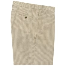 Charleston Khaki by Berle Cotton Shorts - Flat Front (For Men) in Tan/Cream Seersucker - Closeouts