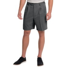 Charleston Khaki by Berle Pleated Herringbone Shorts (For Men) in Black - Closeouts