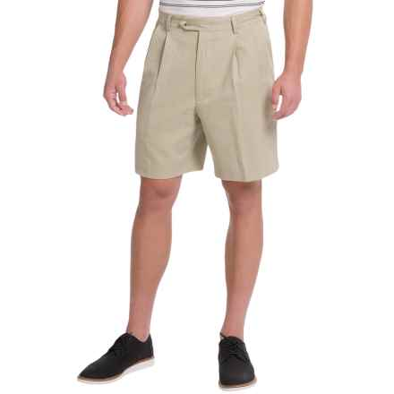 Charleston Khaki by Berle Pleated Herringbone Shorts (For Men) in Khaki - Closeouts