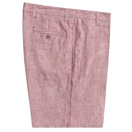 Charleston Khaki by Berle Stripe Shorts - Linen (For Men) in Red/Tan