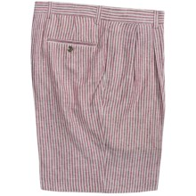 Charleston Khakis by Berle Stripe Shorts - Linen, Pleated (For Men) in Red/Tan - Closeouts