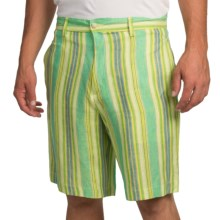 Charleston Khakis Linen Shorts (For Men) in Green Multi Stripe - Closeouts