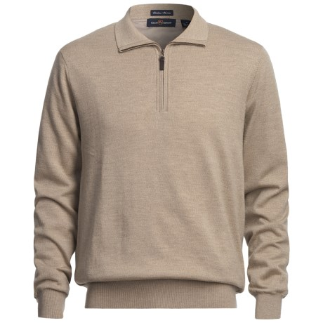 Chase Edward Baruffa Sweater - Merino Wool, Zip Neck, Lined (For Men) in Taupe