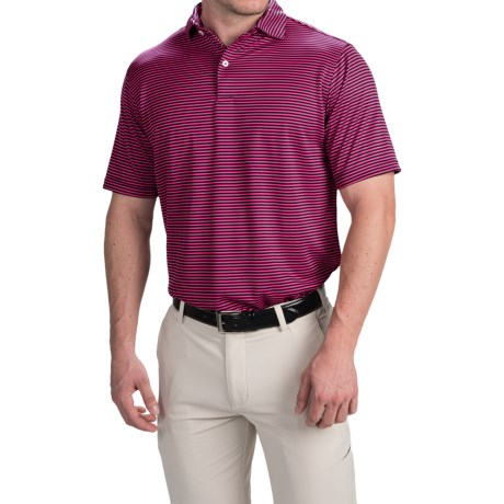 Chase Edward Chase Stripe High-Performance Polo Shirt - Short Sleeve (For Men) in Navy/Pink