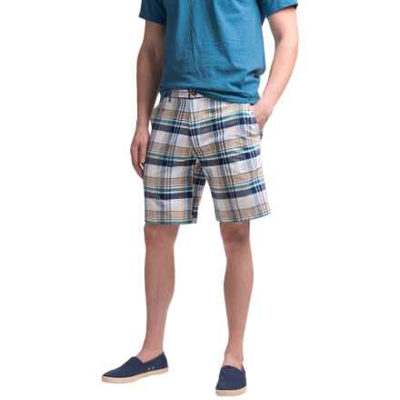 Chase Edward Cotton Plaid Shorts (For Men) in Khaki - Closeouts