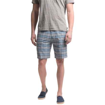 Chase Edward Cotton Plaid Shorts (For Men) in Light Blue - Closeouts
