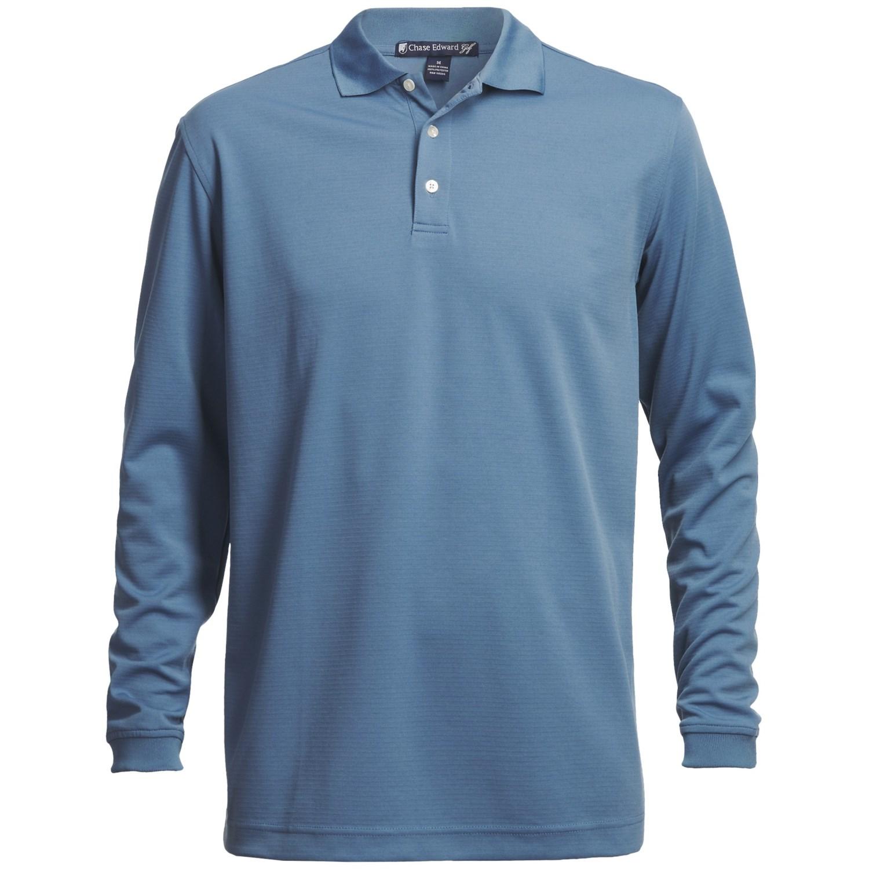 Chase edward golf polo shirt long sleeve for men for Long sleeve golf polo shirts