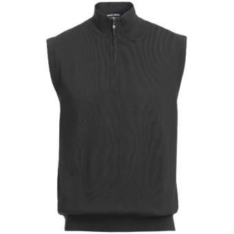 Chase Edward Golf Sweater Wind Vest - Merino Wool, Zip Neck, Lined (For Men) in Black