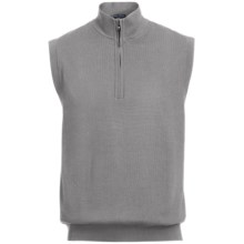 Chase Edward Golf Sweater Wind Vest - Merino Wool, Zip Neck, Lined (For Men) in Lt Heather Grey - Closeouts