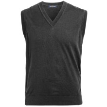 Chase Edward Pima Cotton Sweater Vest - V-Neck (For Men) in Black - Closeouts