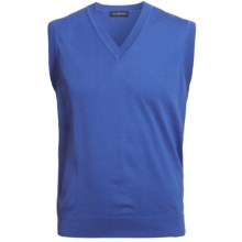 Chase Edward Pima Cotton Sweater Vest - V-Neck (For Men) in Marine - Closeouts