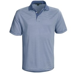 Chase Edward Reed Striped Polo Shirt - Short Sleeve (For Men) in Arctic Blue
