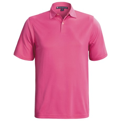 Chase Edward Solid High-Performance Pique Polo Shirt - Short Sleeve (For Men) in Magenta