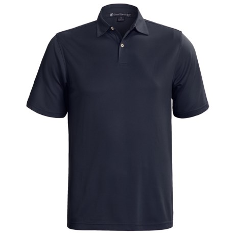 Chase Edward Solid High-Performance Pique Polo Shirt - Short Sleeve (For Men) in Navy
