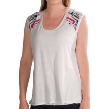 Chaser Boxy Flow Muscle Shirt - Embellished, Sleeveless (For Women) in White - Closeouts