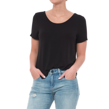 Chaser Cool Jersey T-Back Shirttail T-Shirt - Short Sleeve (For Women) in Black